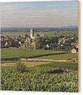Vineyard And Village Of Pommard. Cote D'or. Route Des Grands Crus. Burgundy. France. Europe Wood Print by Bernard Jaubert