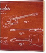 Vintage Fender Guitar Patent Drawing From 1951 Wood Print by Aged Pixel
