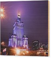 Warsaw Poland Downtown Skyline At Night Wood Print by Michal Bednarek