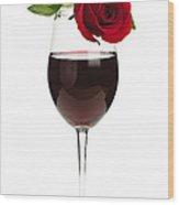 Wine With Red Rose Wood Print by Elena Elisseeva