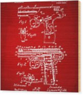1911 Automatic Firearm Patent Artwork - Red Wood Print by Nikki Marie Smith