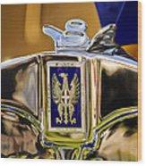 1929 Bianchi S8 Graber Cabriolet Hood Ornament And Emblem Wood Print by Jill Reger