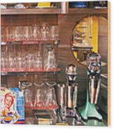 1950's - Diner - A 1950's Diner Wood Print by Mike Savad