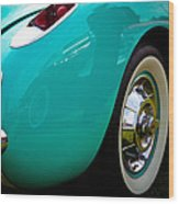 1956 Baby Blue Chevy Corvette Wood Print by David Patterson