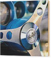 1958 Chevrolet Corvette Steering Wheel Wood Print by Jill Reger