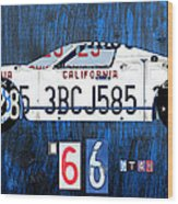 1966 Ford Gt40 License Plate Art By Design Turnpike Wood Print by Design Turnpike
