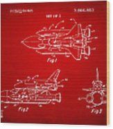 1975 Space Shuttle Patent - Red Wood Print by Nikki Marie Smith