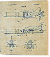 1975 Space Vehicle Patent - Vintage Wood Print by Nikki Marie Smith