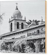 Facade Of The Chapel Mission San Carlos Borromeo De Carmelo Wood Print by Ken Wolter