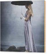 Black Umbrella Wood Print by Joana Kruse