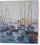 Boats In Rhodes Greece  Wood Print by Ylli Haruni