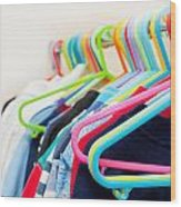 Clothes Hangers Wood Print by Tom Gowanlock