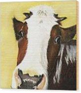 Cow No. 0650 Wood Print by Carol McCarty