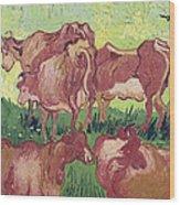 Cows Wood Print by Vincent Van Gogh