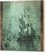 Grungy Historic Seaport Schooner Wood Print by John Stephens