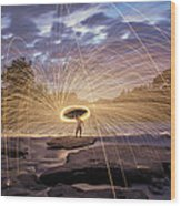 Halo On The American River Wood Print by Lee Harland