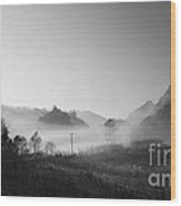 Mist In The Valley Wood Print by Setsiri Silapasuwanchai