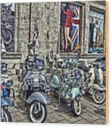 Mod Scooters And 60s Fashion Wood Print by Jasna Buncic