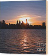 Philadelphia Sunset Wood Print by Olivier Le Queinec