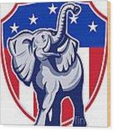 Republican Elephant Mascot Usa Flag Wood Print by Aloysius Patrimonio