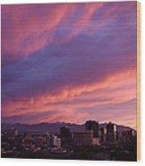 Salt Lake City Sunset Wood Print by Rona Black