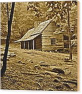 Smoky Mountain Cabin Wood Print by Frozen in Time Fine Art Photography