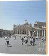 St Peter's Square. Vatican City. Rome. Lazio. Italy. Europe  Wood Print by Bernard Jaubert