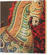 Vintage Carousel Horse Wood Print by Suzanne Gaff