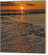 Welsh Sunset Wood Print by Adrian Evans