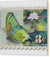 3 Cent Butterfly Stamp Wood Print by Amy Kirkpatrick