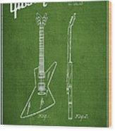 Mccarty Gibson Electrical Guitar Patent Drawing From 1958 - Green Wood Print by Aged Pixel