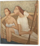 Pair In A Boat  Wood Print by Nicolay  Reznichenko