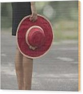 Red Sun Hat Wood Print by Joana Kruse