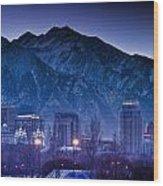 Salt Lake City Utah Skyline Wood Print by Utah Images