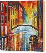 The Canals Of Venice Wood Print by Leonid Afremov
