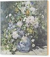 Vase Of Flowers Wood Print by Pierre-Auguste Renoir