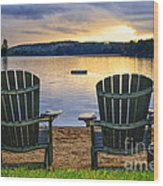 Wooden Chairs At Sunset On Beach Wood Print by Elena Elisseeva