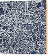 London England Street Map Wood Print by Michael Tompsett