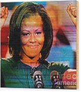 Michelle Obama Wood Print by Marvin Blaine