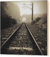 Railway Tracks Wood Print by Les Cunliffe