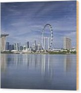 Singapore City Wood Print by Anek Suwannaphoom