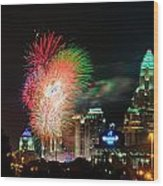 4th Of July Firework Over Charlotte Skyline Wood Print by Alex Grichenko