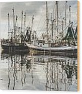 Bayou Labatre' Al Shrimp Boat Reflections Wood Print by Jay Blackburn