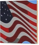 50 Star American Flag Closeup Abstract 6 Wood Print by L Brown