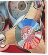 1960 Chevrolet Corvette Steering Wheel Emblem Wood Print by Jill Reger