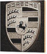 Porsche Emblem Wood Print by Jill Reger
