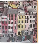 A Bird's Eye View Of Cinque Terre Wood Print by Quin Sweetman
