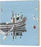 A Contemplation Of Seagulls Wood Print by Gary Giacomelli