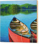 A Day On The Lake Wood Print by Darren Fisher