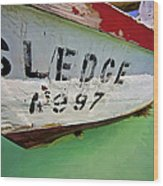 A Fishing Boat Named Sledge Wood Print by David Letts